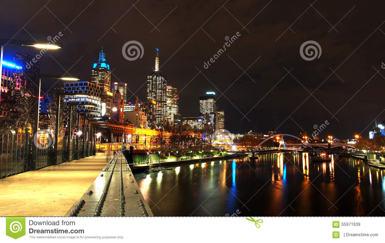 Bridge Across The Yarra River At Night In Melbourne City.