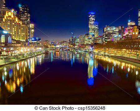 Stock Photo of melbourne at night looking down the yarra river.