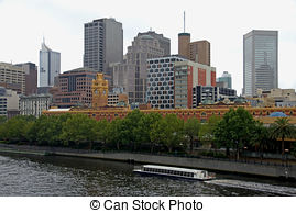 Stock Photographs of Skyscrapers on Yarra River, Melbourne.