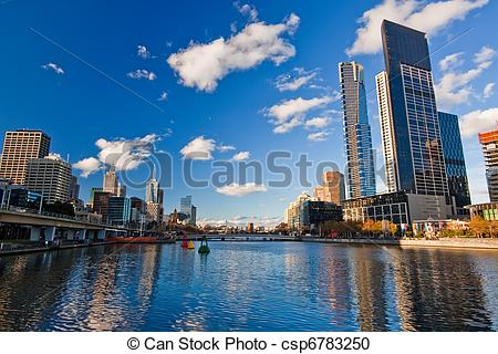 Stock Photography of Melbourne, Skyscrapers on Yarra River.