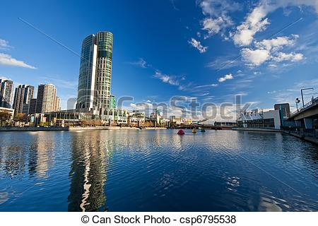 Pictures of Melbourne, Skyscrapers on Yarra River.