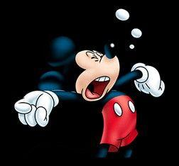 Mickey Mouse yawning.
