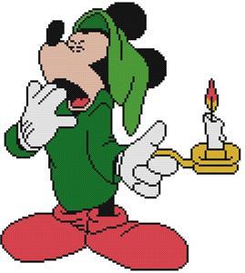 Details about CROSS STITCH+ CRAFT PATTERN Mickey Mouse Pajama Shirt Hat  Christmas Candle Yawn.