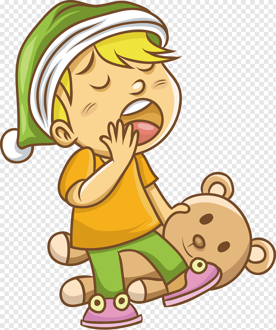 Yawning boy on bear, Yawn Drawing, Yawning boy free png.