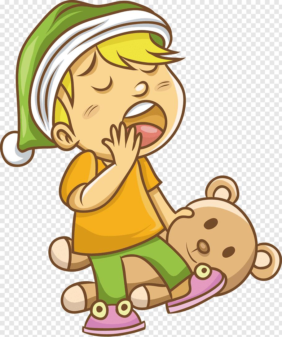 Yawning boy on bear, Yawn Drawing, Yawning boy free png.