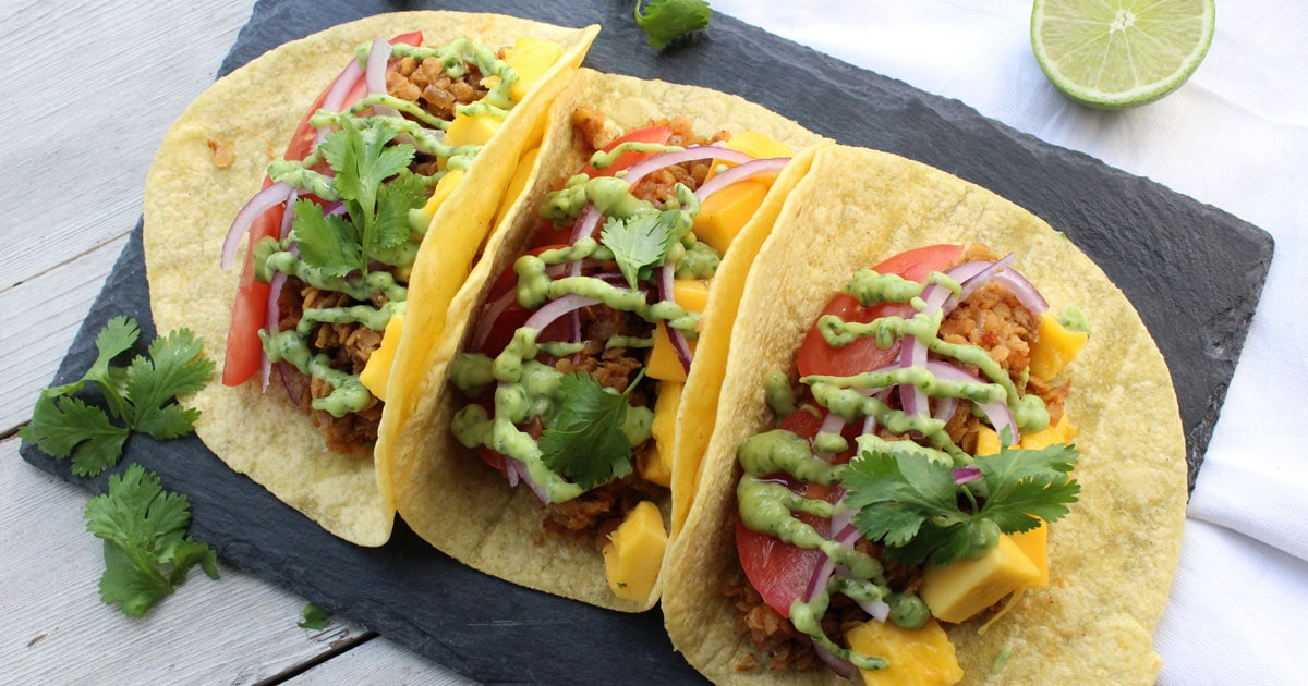 VIDEO} Lentil Tacos with Avocado Cilantro Sauce • It Doesn\'t.