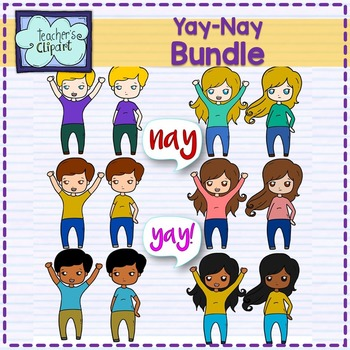 Yay! or Nay Multicultural Kids Clipart BUNDLE.