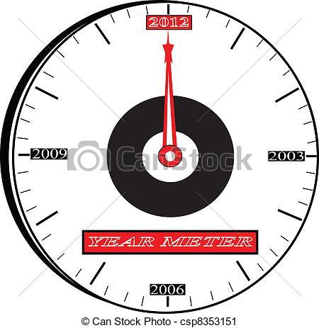 Vector Clip Art of year meter 2000 clock.