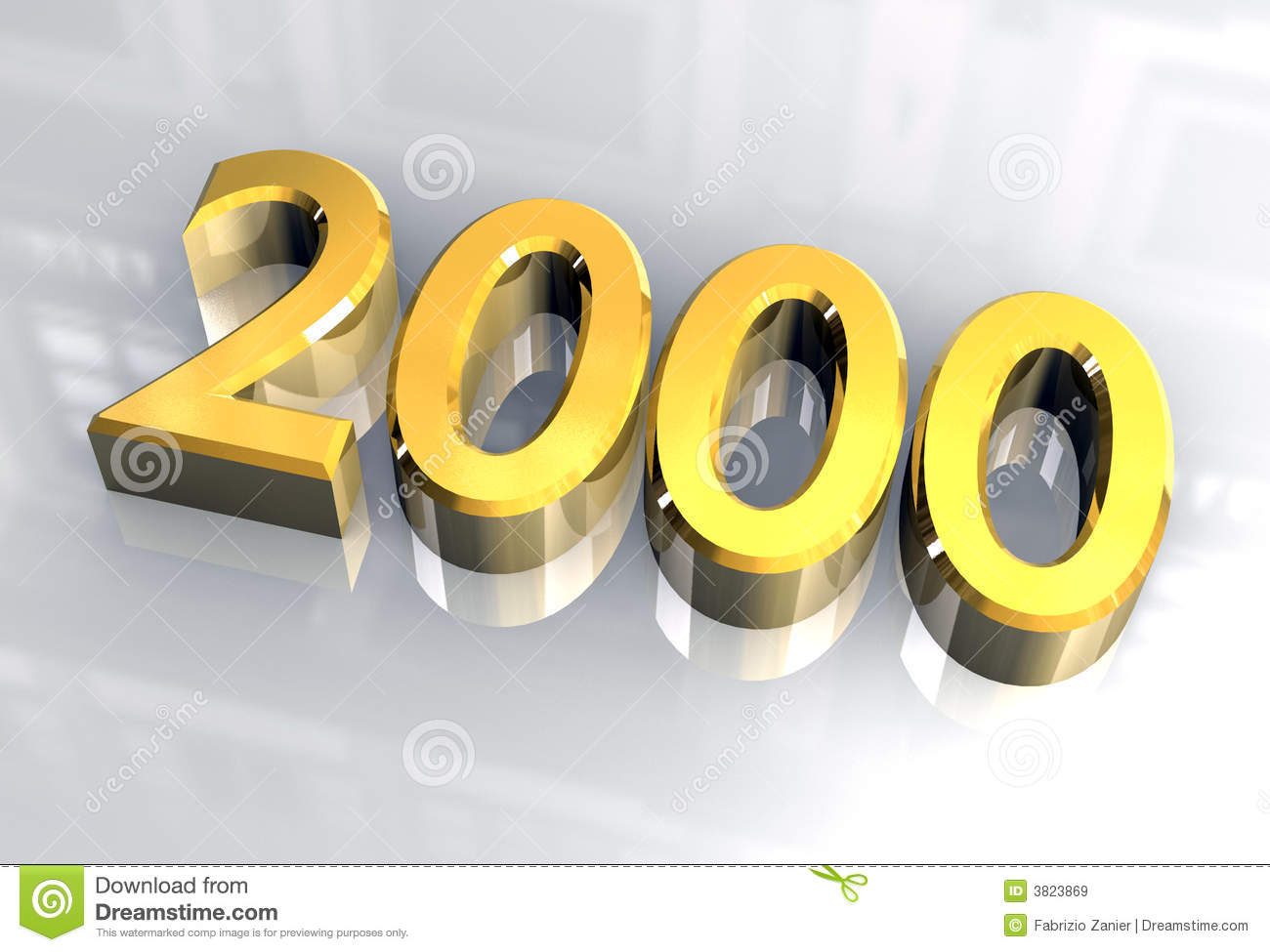 New Year 2000 In Gold (3D) Royalty Free Stock Images.