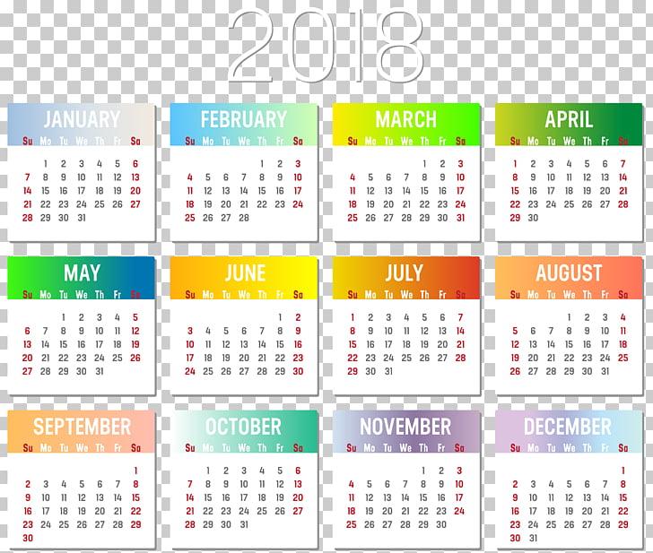 Calendar date Time Year, calendar 2018 PNG clipart.