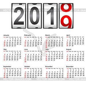 2019 New Year counter, change calendar.