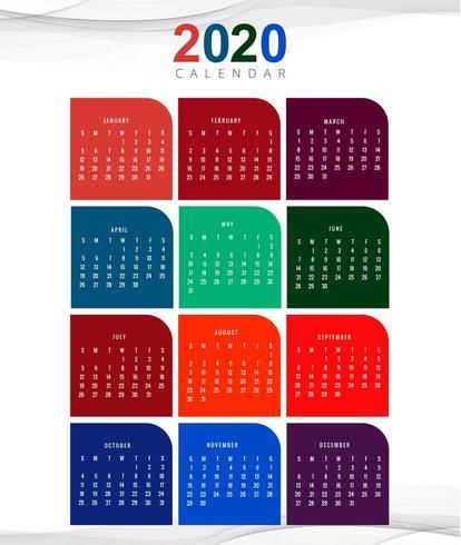 2020 new year calendar design template vector.