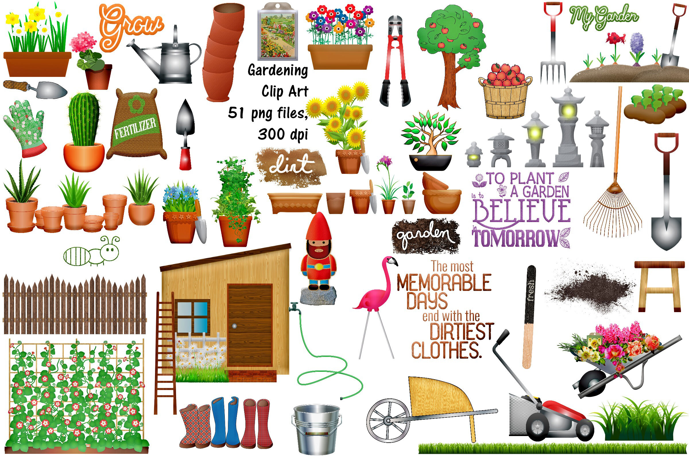 Gardening Clip Art Plus BONUS By Me and Ameliè.