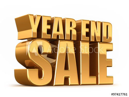 3D render of YEAR END SALE word in gold.