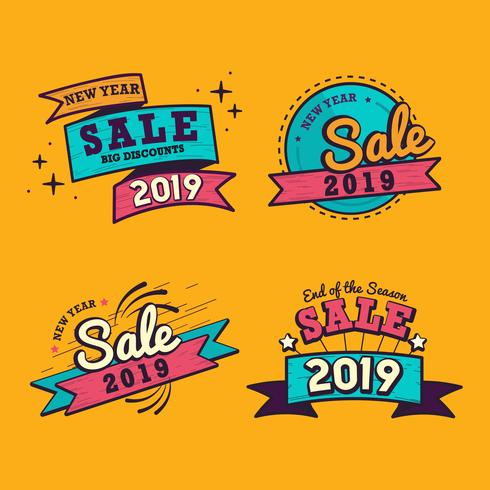 2019 new year sale badge vector set.