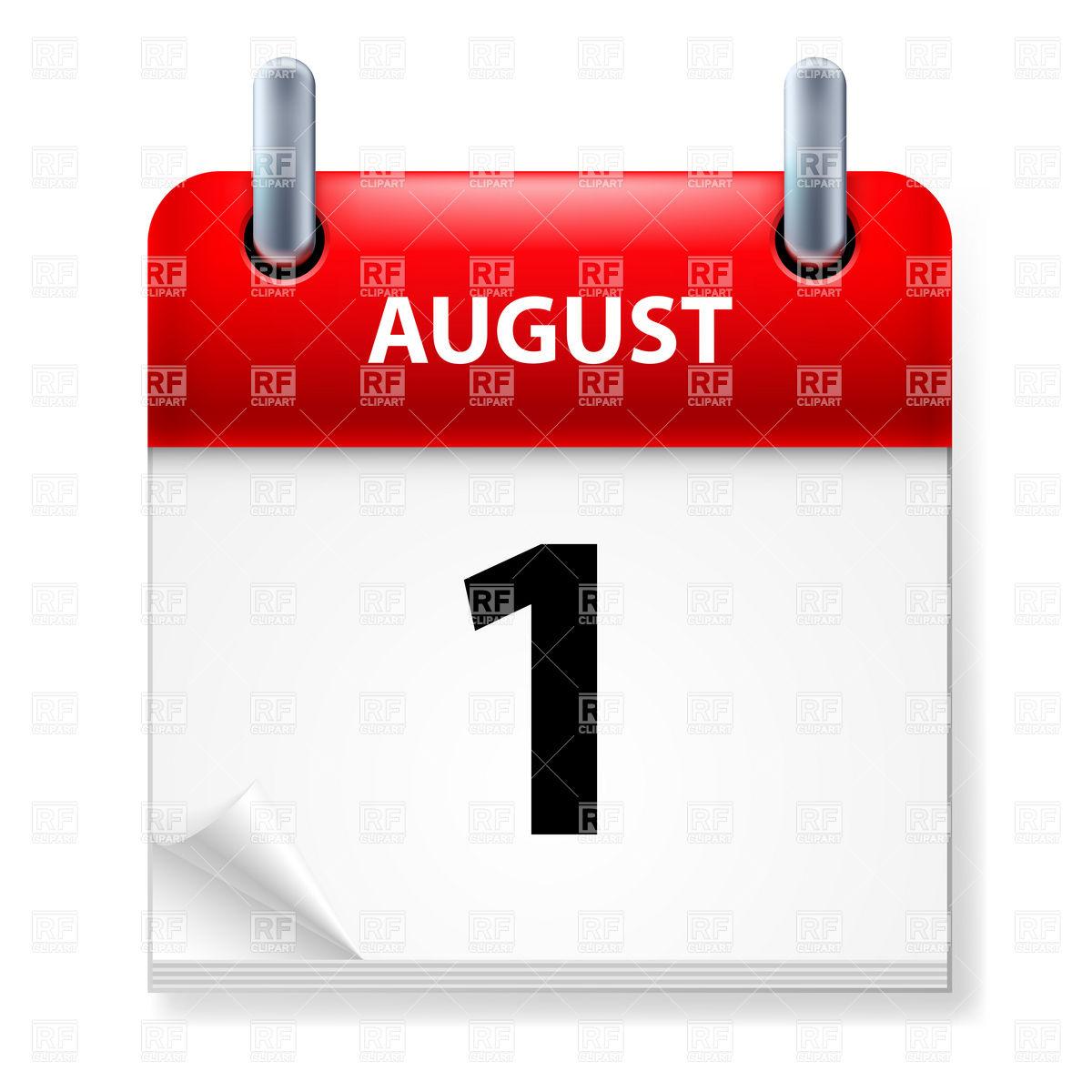 Clipart calendar august 2015.
