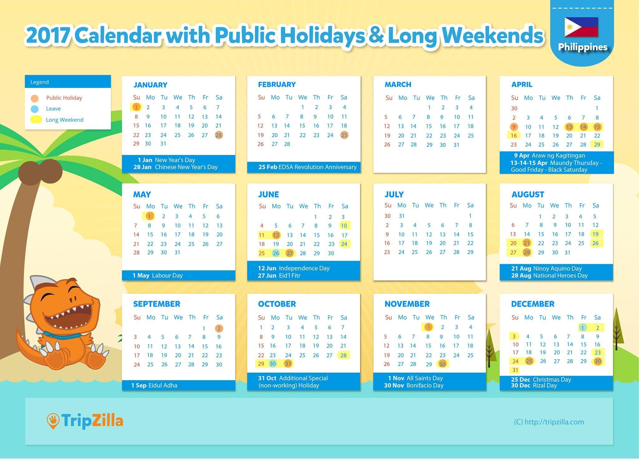 2017 Calendar Philippines.