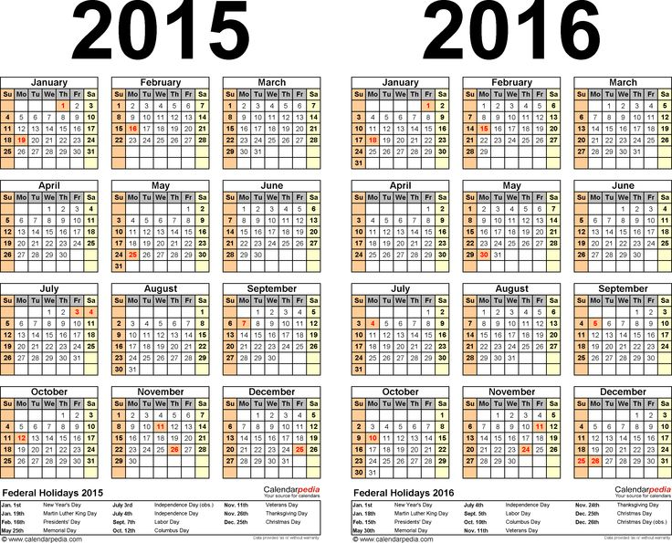 Monthly Calendar 2015 With Holidays Idealstalist