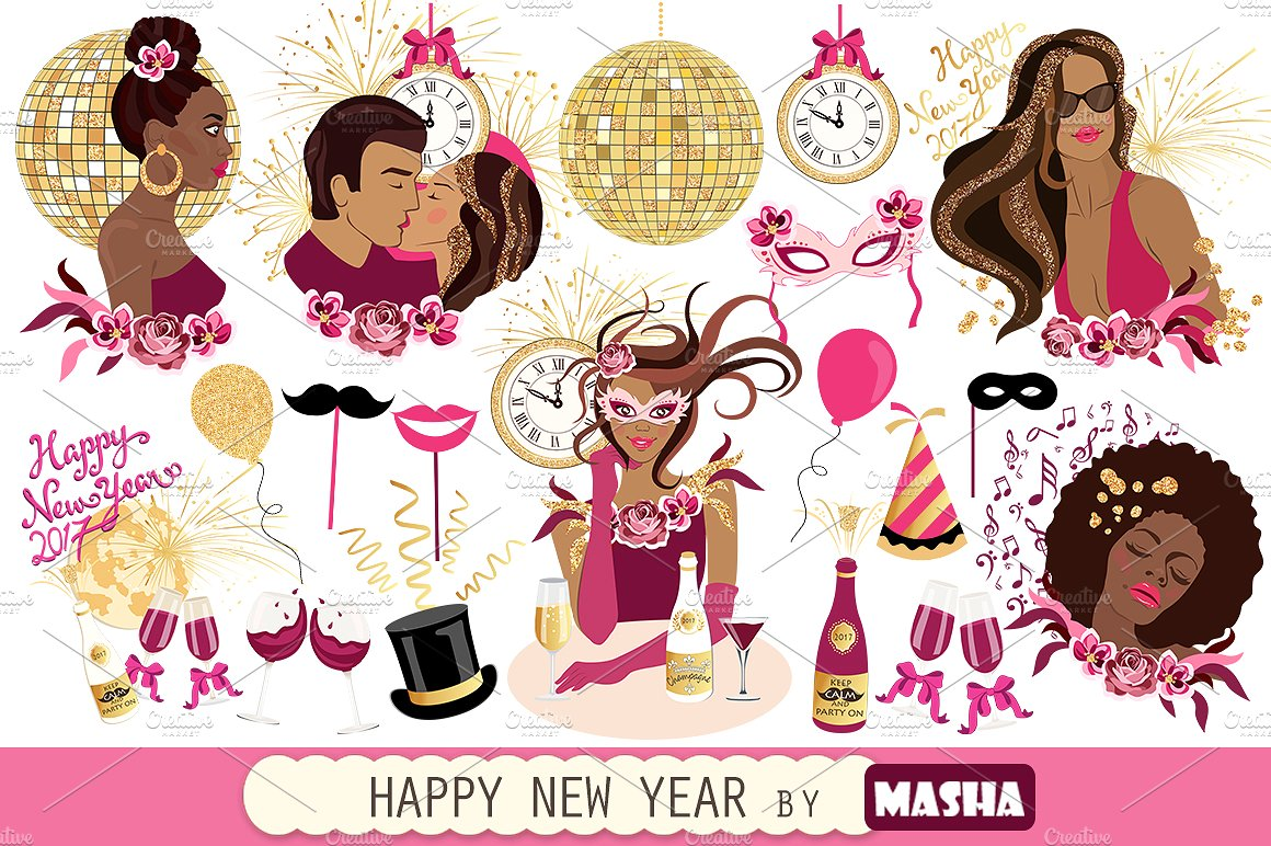 HAPPY NEW YEAR clipart ~ Illustrations on Creative Market.