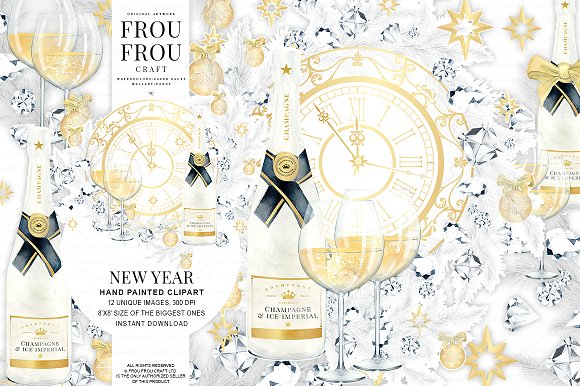 New Year Eve Watercolor Clip Art ~ Illustrations on Creative Market.