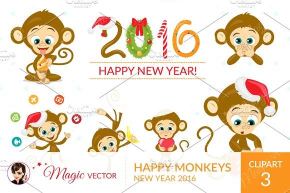 Monkeys clipart, Xmas, New Year ~ Graphics on Creative Market.