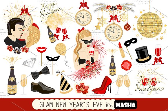 GLAM NEW YEAR'S EVE clipart ~ Illustrations on Creative Market.