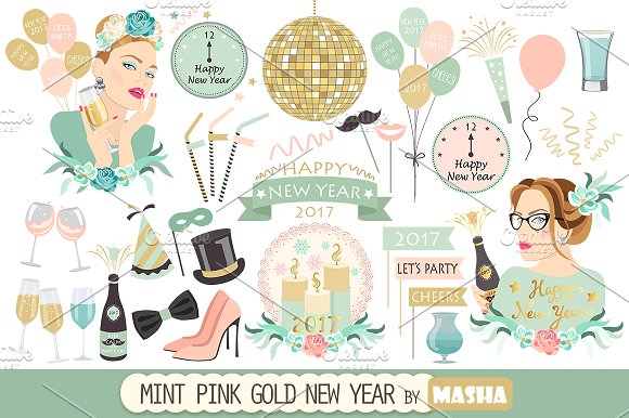 MINT PINK GOLD NEW YEAR clipart ~ Illustrations on Creative Market.
