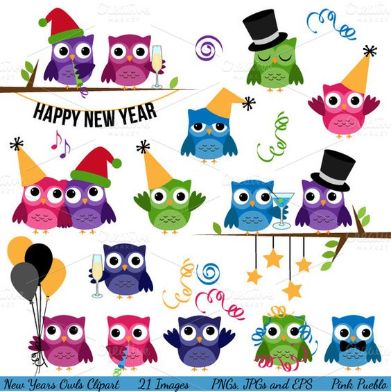 Check out New Years Owls Vectors and Clipart by PinkPueblo on.
