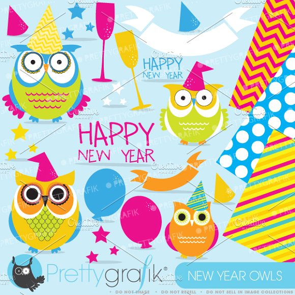 New Year Owls clipart commercial use ~ Illustrations on Creative.