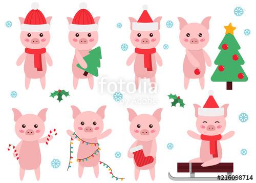 Cute cartoon pig clipart. New Year or Christmas symbol. Flat.