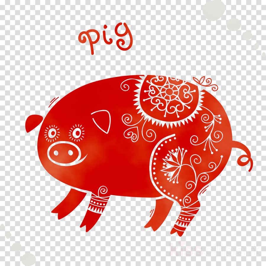 Chinese New Year Pig clipart.