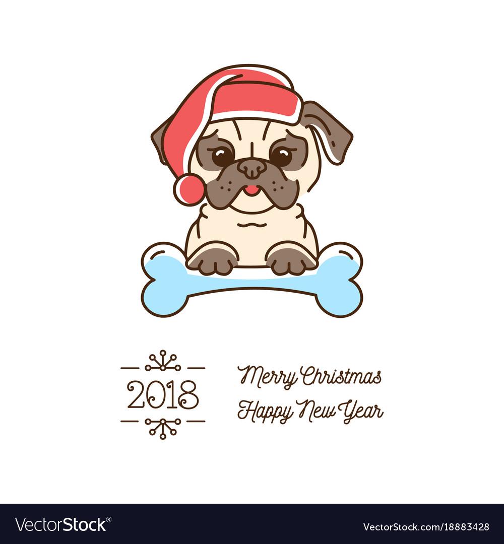 Pug christmas year of the dog 2018 cute cartoon.