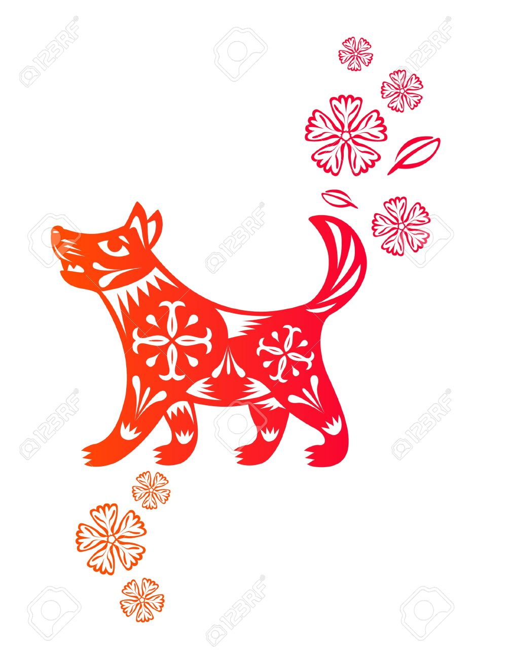 Chinese year of Dog Puppy made by traditional chinese paper...