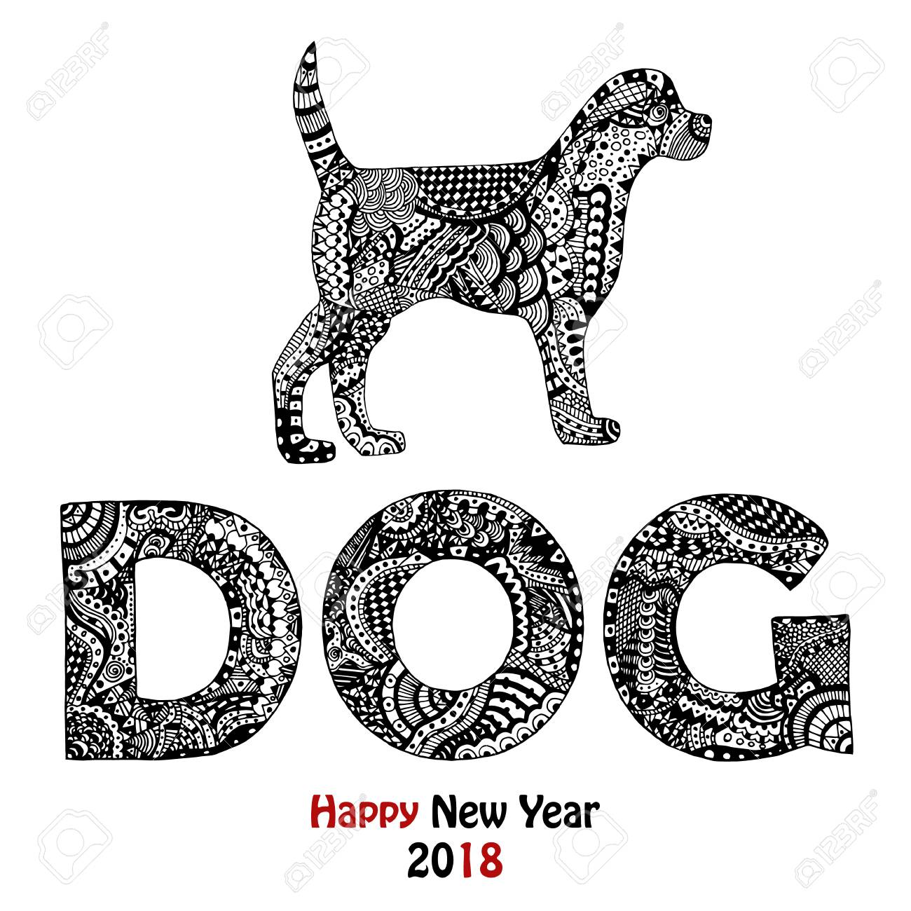 New Year 2018 card with zentangle inspired handdrawn dog and...