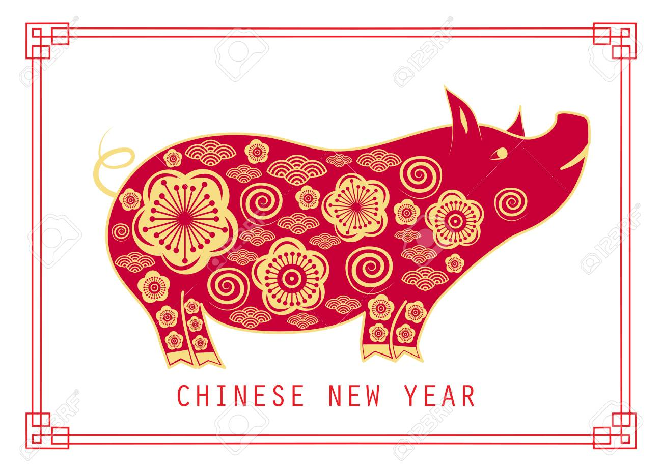 Happy chinese new year 2019. Year of the pig.