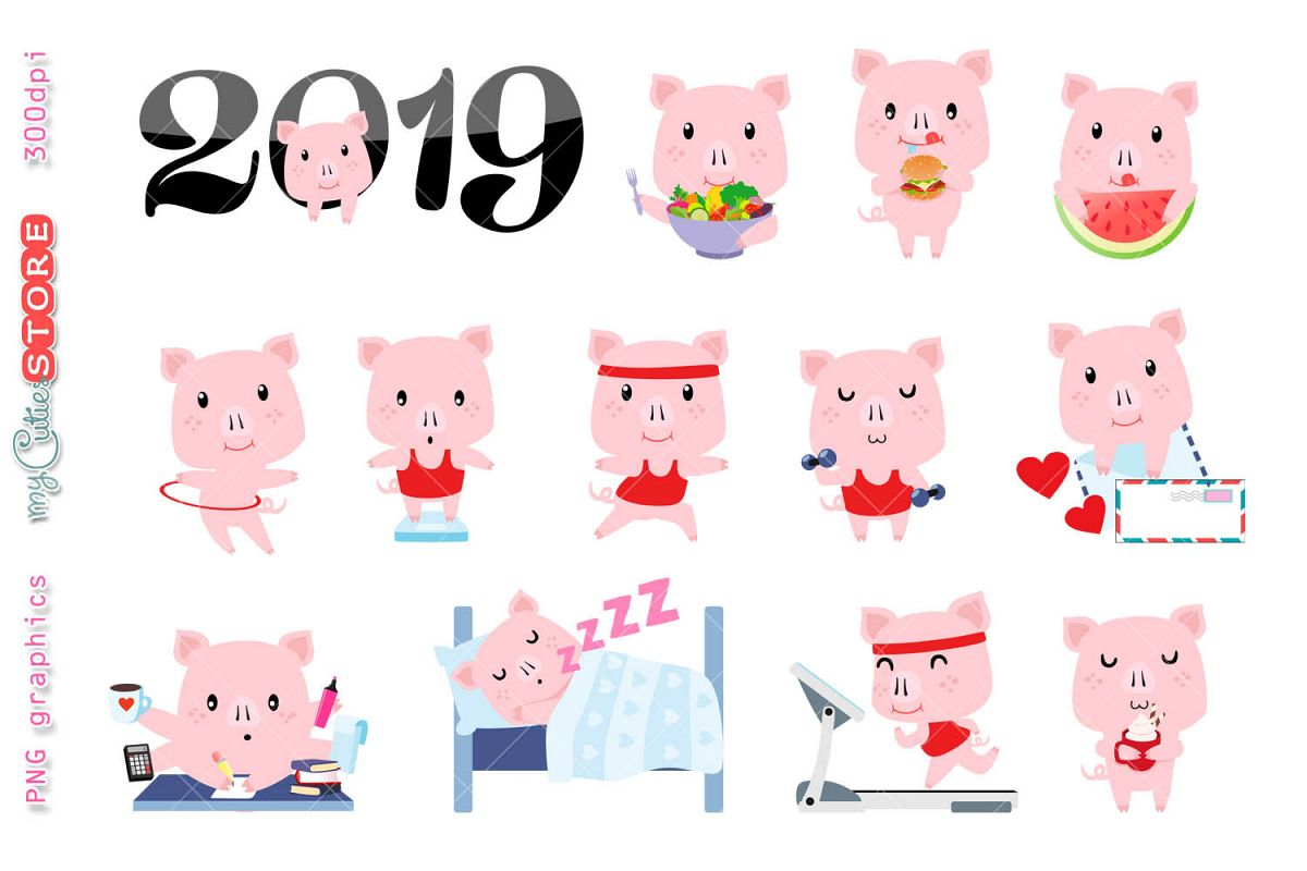 Collection year of the pig clipart, PNG graphics.