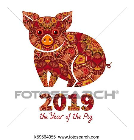 2019 Year of the PIG Clipart.