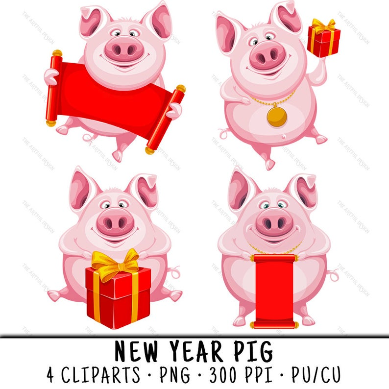 New Year Pig Clipart, Year Of Pig Clipart, New Year Pig PNG, Year Of Pig  Clip Art, Year Of Pig PNG, Pig Clipart, New Year Pig 2019.