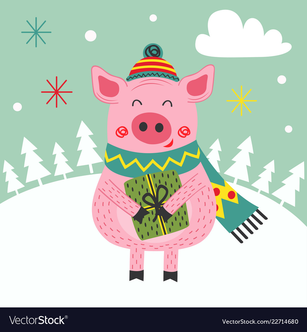 Card happy new year of the pig.
