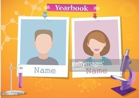 School Album Yearbook and Science stock vectors.