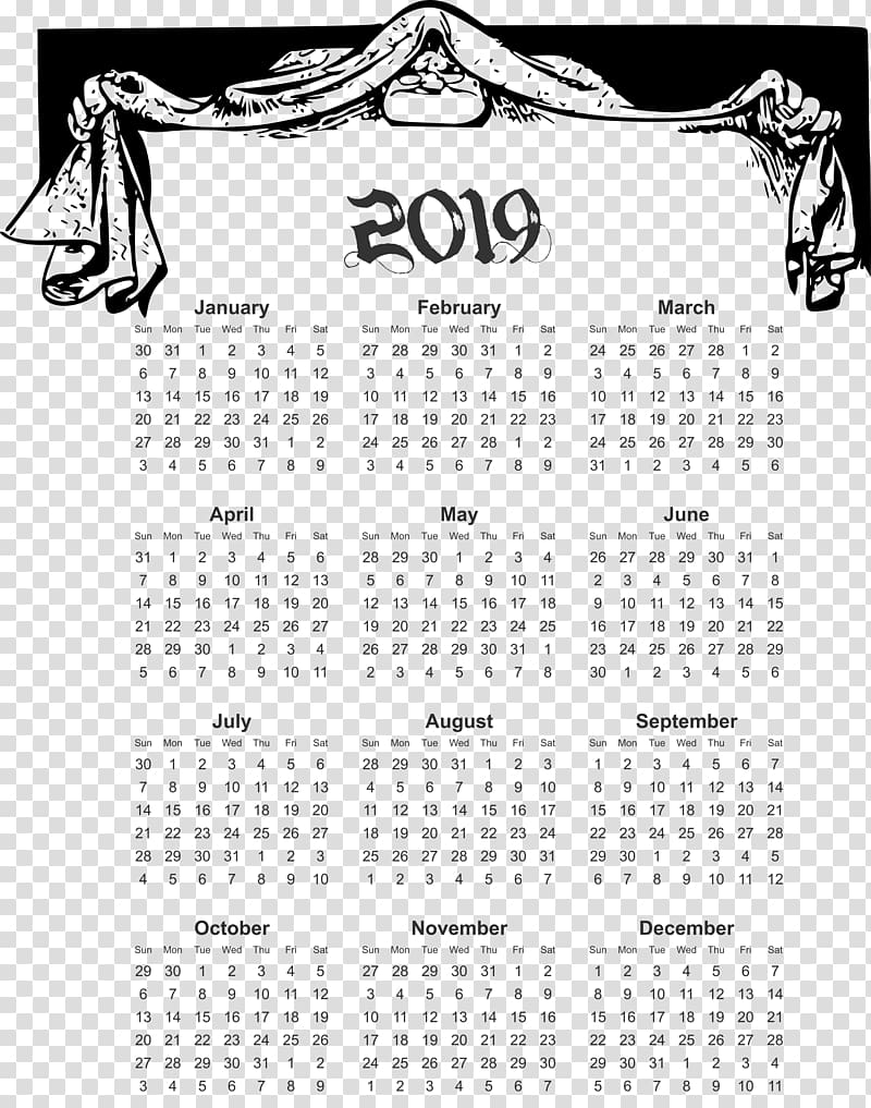 2019 yearly calendar able in comic design., others.