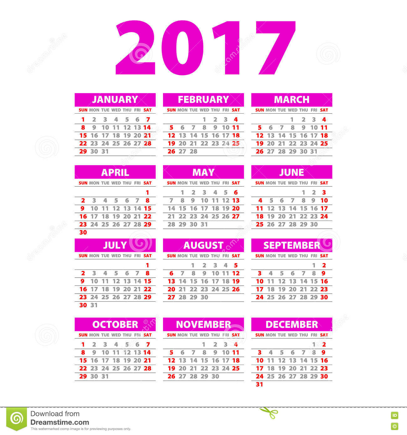 Yearly Wall Calendar Planner Template For 2017 Year. Stock Vector.