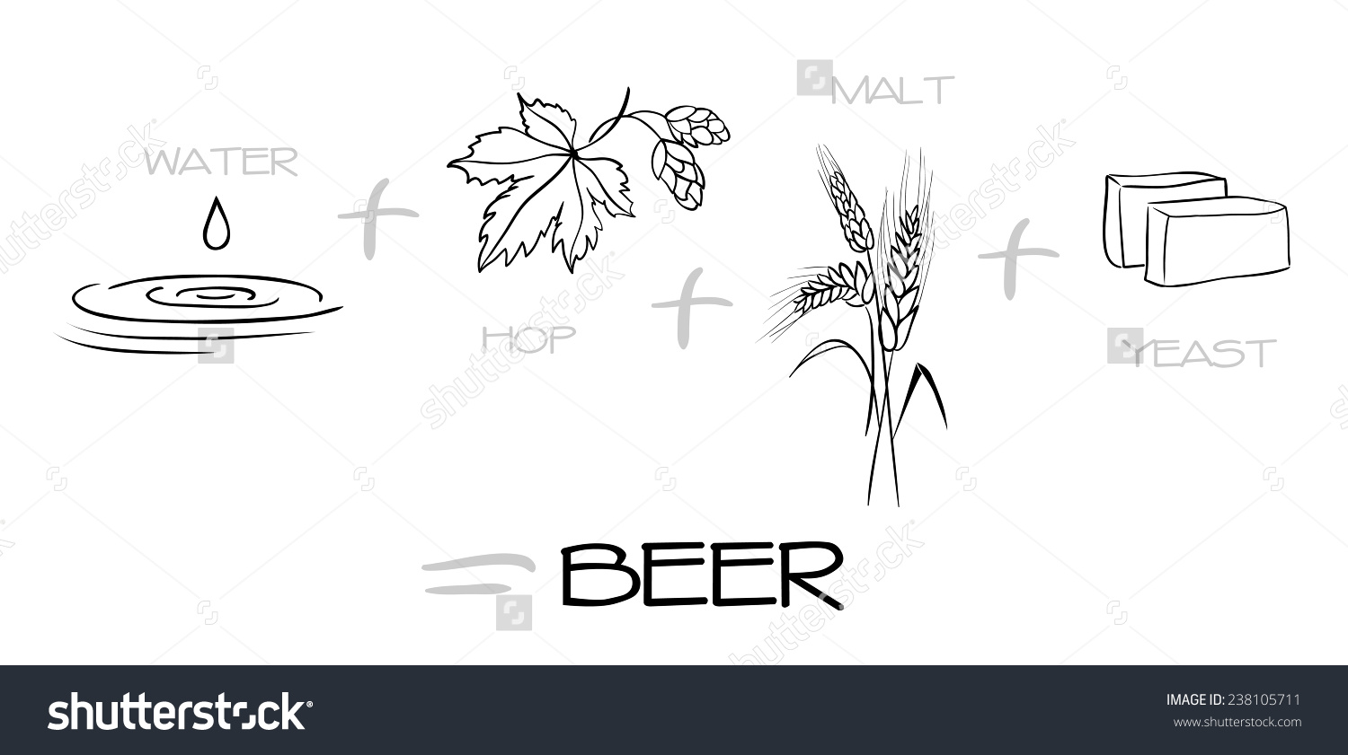 Beer Components Collection Water Hops Malt Stock Illustration.