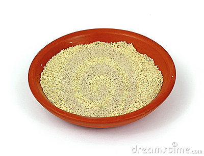 Dry Yeast In Bowl Stock Photo.