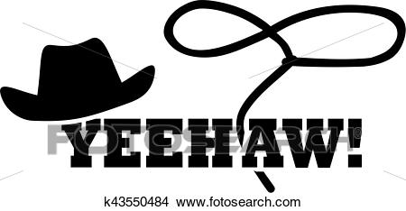 Cowboy western hat with lasso.
