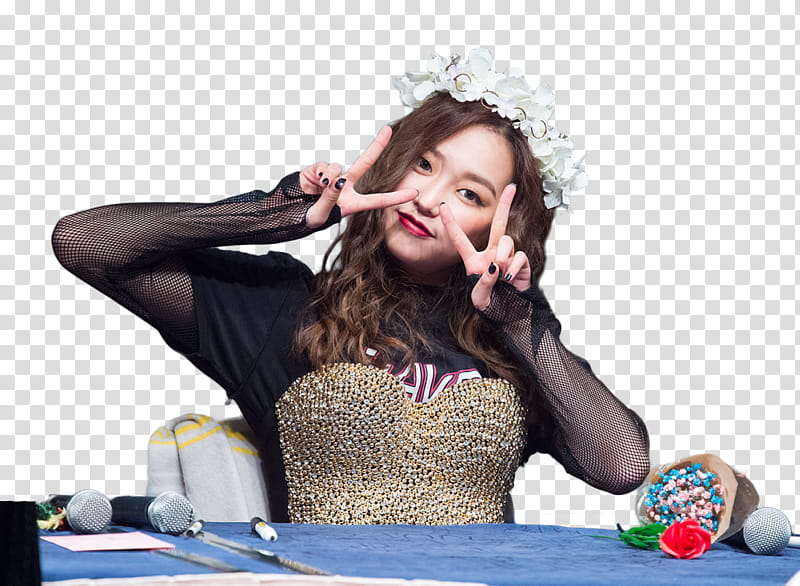 Render HQ CLC Yeeun, woman in black top sitting transparent.
