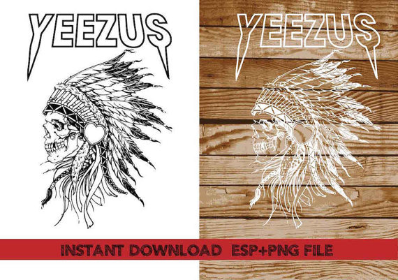 yeezus indian skull clipart T shirt iron on by.