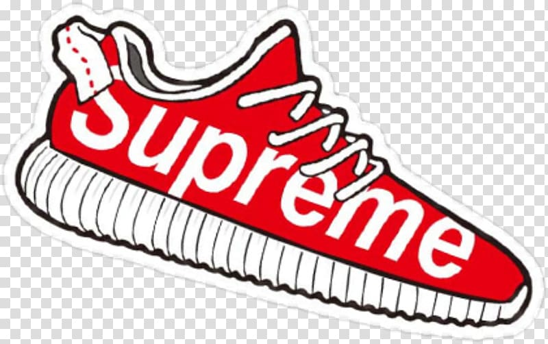 Red and white Supreme shoe illustration, Supreme Sticker.
