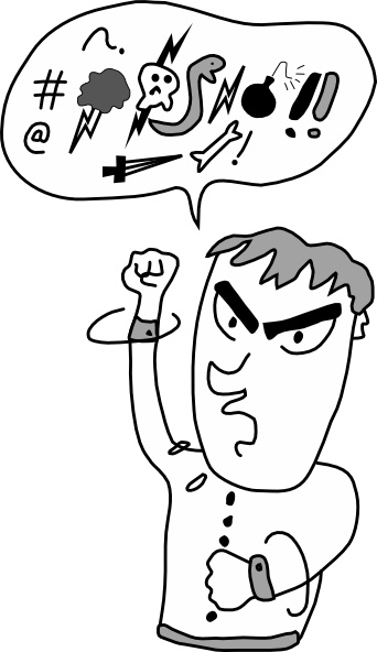 Screaming And Yelling Guy clip art Free vector in Open office.
