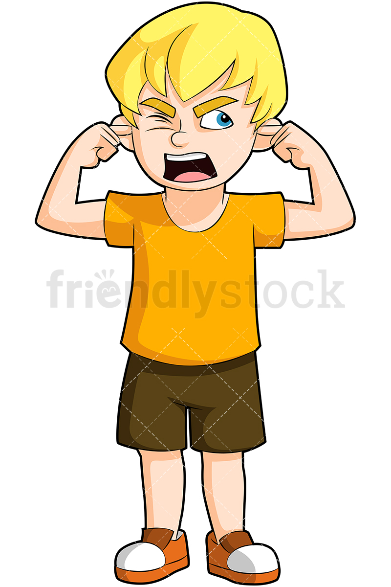 A Little Boy Covering His Ears, Mouth Wide Open As If Yelling.